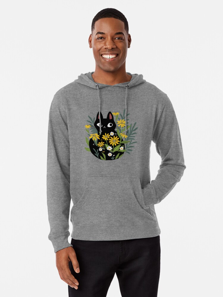 Alternate view of Black cat with flowers  Lightweight Hoodie