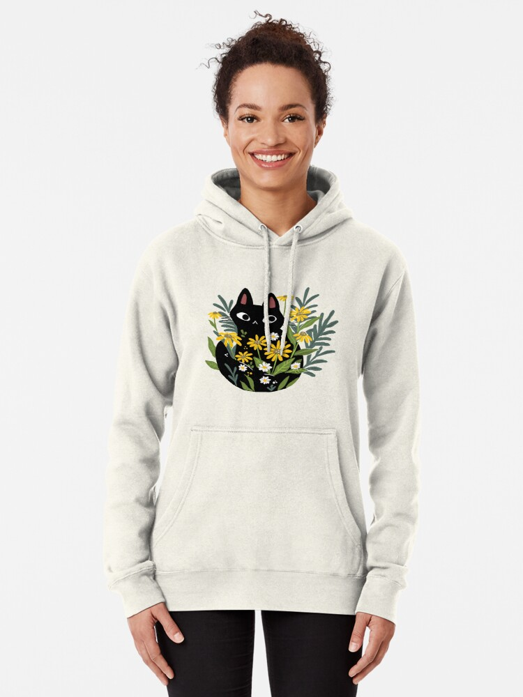 Alternate view of Black cat with flowers  Pullover Hoodie