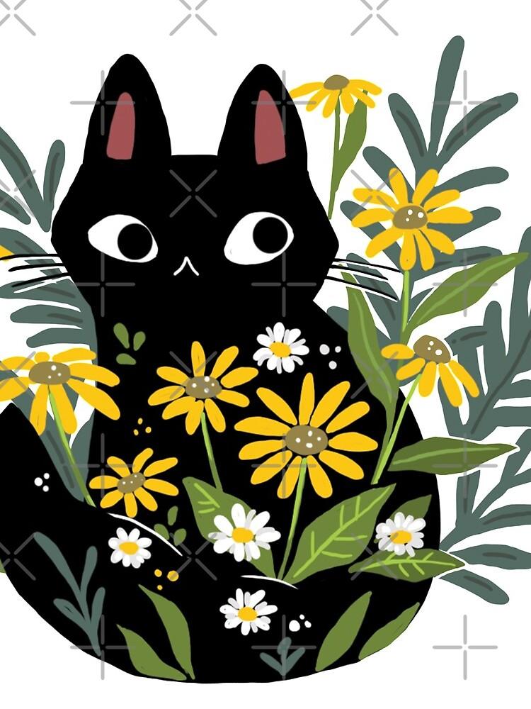 Gato negro con flores de michelledraws