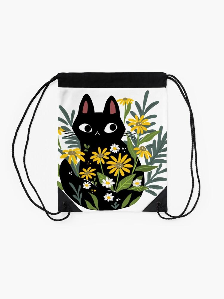 Vista alternativa de Mochila saco Gato negro con flores