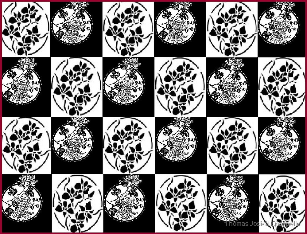 Double stencil chekerbord in floral patternz by Thomas Josiah Chappelle