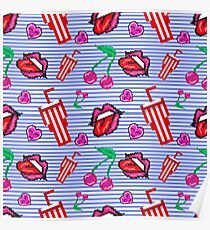 Cute seamless pattern with lips, cherry, milkshake and heart at marine stripes background Poster