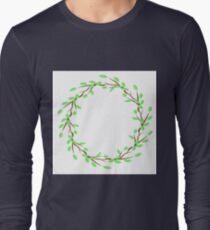 Green Leaves Frame Long Sleeve T-Shirt