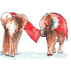 Sweet baby elephants in watercolors by Kitty van den Heuvel