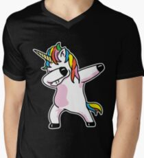 Dabbing Unicorn Shirt Men's V-Neck T-Shirt