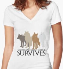 But the Pack Survives. Women's Fitted V-Neck T-Shirt