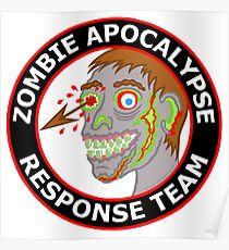 Zombie Apocalypse Response Team Funny Cartoon Poster