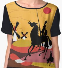 Don Quixote of the Mancha and Sancho  Women's Chiffon Top