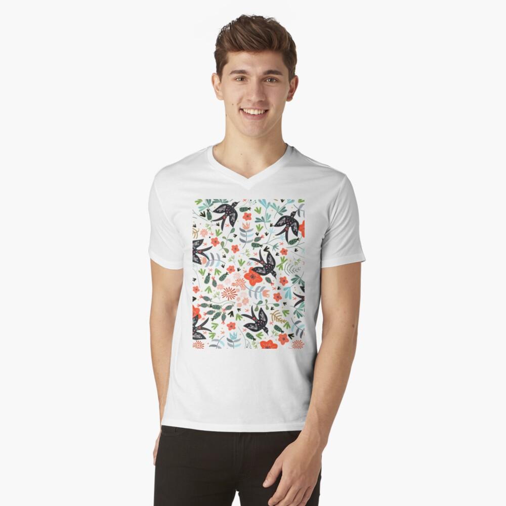 Around the Garden Mens V-Neck T-Shirt Front