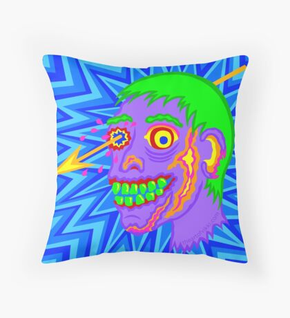 Zombie Head Pop Art Purple Funny Cartoon Throw Pillow