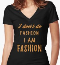 I am FASHION Women's Fitted V-Neck T-Shirt