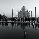 The Taj Mahal, Tourists and Reflections by John Dalkin