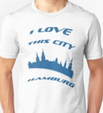I Love my city Hamburg. Capital city silhouette with touristic places T-Shirt