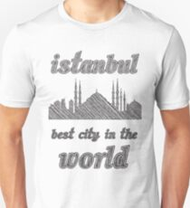 I Love my city Istanbul. Capital city silhouette with touristic places T-Shirt