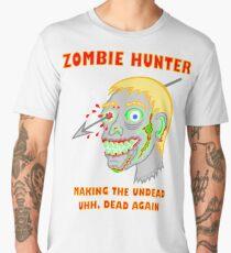 Zombie Hunter Funny Cartoon Walker Undead Head Men's Premium T-Shirt