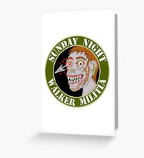 Zombie Patch Funny Sunday Night Walker Militia Greeting Card