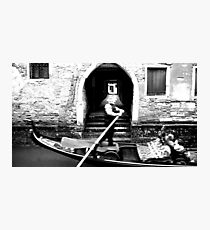 Gondola on a Calle of Venice Photographic Print