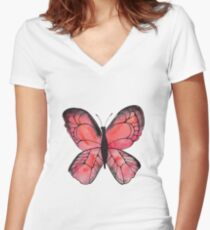 Whimsical Butterfly - Red Women's Fitted V-Neck T-Shirt