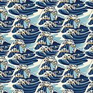 The Great Wave of Pug Pattern by Huebucket