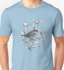 ink sparrow and peonies on terracotta background T-Shirt
