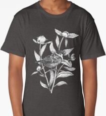 ink sparrow and peonies on terracotta background Long T-Shirt