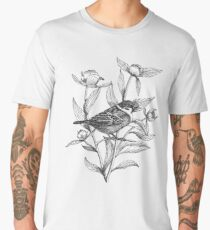 ink sparrow and peonies on terracotta background Men's Premium T-Shirt
