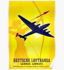 """""""DEUTSCHE LUFTHANSA"""" German Airway Advertising Print Poster"""