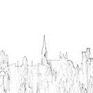 Cork, Irland Skyline B & W - dünne Linie von Marlene Watson