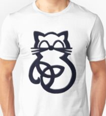 Black Trinity Knot Celtic Cat Unisex T-Shirt
