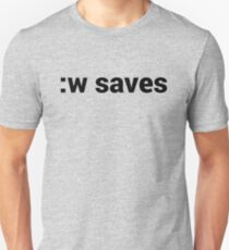 :w saves in vi & Vim - Open Source Geek - Black Text T-Shirt