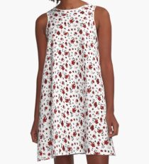 Charming red cherry blossoms pattern A-Line Dress