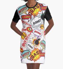 Boom! Bang! Crash! Cartoon & Comic Pattern Graphic T-Shirt Dress