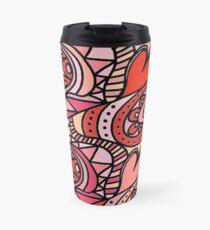 Be My Valentine Funky Doodle Hearts Travel Mug