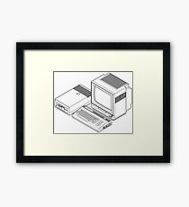 Commodore 64 with a floppy drive and CRT monitor Framed Print