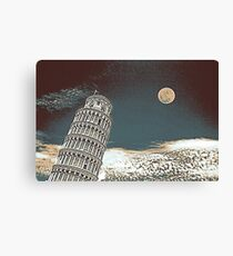 Full Moon Over Leaning Tower of Pisa 2 Canvas Print