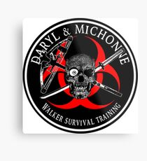 Biohazard Daryl & Michonne, Walker Survival Training  Ring Patch  Metal Print