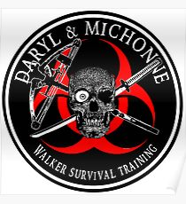 Biohazard Daryl & Michonne, Walker Survival Training  Ring Patch  Poster