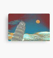 Full Moon Over Leaning Tower of Pisa Canvas Print