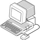 Apple //c setup with a mouse and CRT monitor. by Zern Liew