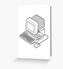 Apple //c setup with a mouse and CRT monitor. Greeting Card