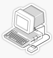 Apple //c setup with a mouse and CRT monitor. Sticker