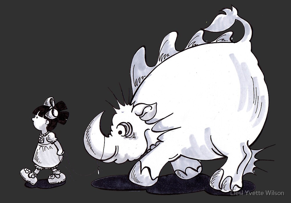 Walking the rhino by Liesl Yvette Wilson