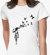 Banksy butterfly girl Women's Fitted T-Shirt