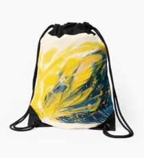 Abstract - Yellow & Blue Drawstring Bag