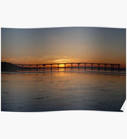 Saltburn Pier sunset Poster