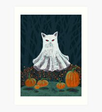 Spooky Ghost Cat in a Pumpkin Patch Art Print