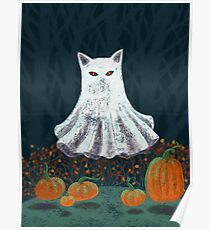 Spooky Ghost Cat in a Pumpkin Patch Poster