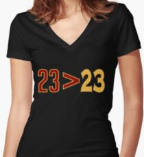 LeBron Greater Than Draymond Women's Fitted V-Neck T-Shirt