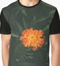 Orange Flower with Leaves Graphic T-Shirt