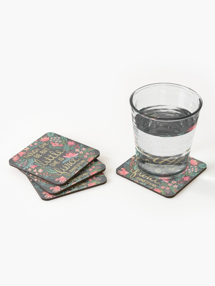 Alternate view of Little & Fierce on Charcoal Coasters (Set of 4)